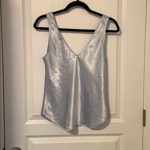 Tops - Pale Blue Satin Tank Top